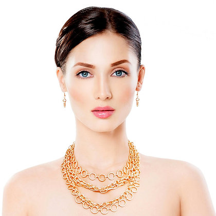 Five (5) Layered Round Metal Link Necklace