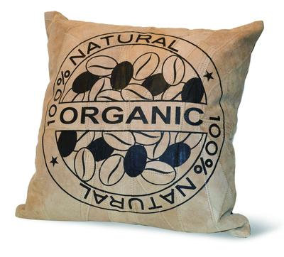"""100% ORGANIC"" RECYCLED LEATHER PILLOW"