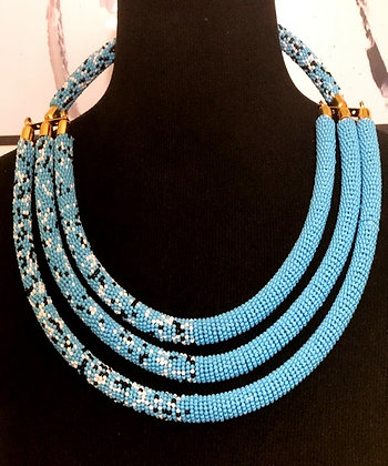 Blue Speckled Glass Beaded Choker/Necklace