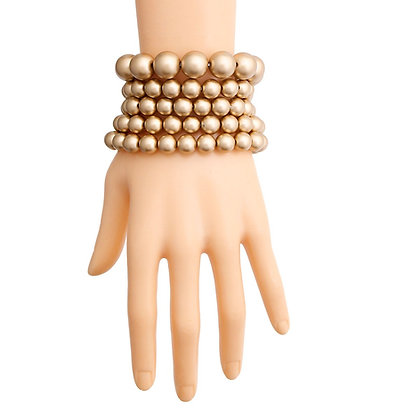 Matte Gold 5 Pcs Pearl  Bracelet