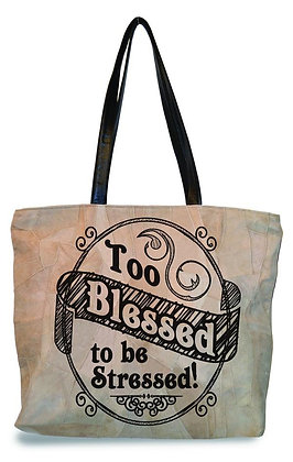 """TO BLESSED FOR STRESS""  RECYCLED LEATHER TOTE"