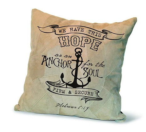 """WE HAVE THIS HOPE"" RECYCLED LEATHER PILLOW"