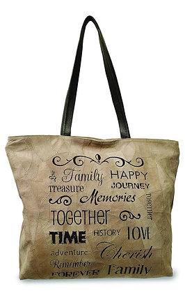 """ FAMILY, HAPPY, MEMORIES""  RECYCLED LEATHER TOTE"
