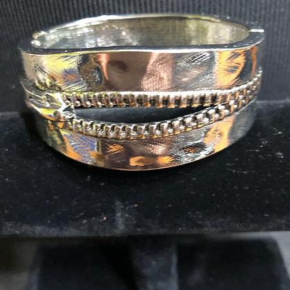 Zipper-Look Antiquated Silvertone  Bracelet