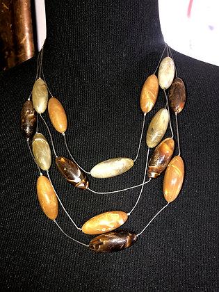 Multi-String Resin Necklace w/ Earrings