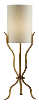 """Two (2) Gold Leaf Metal Table Lamps 37"""" Tall"""