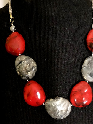 Oval Marble-like Gray and Red Stone Necklace  w/ Earrings