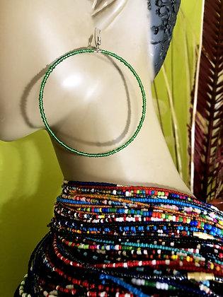 Shimmering Green Beaded Earring Hoops