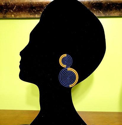 Woven 2-Tier Sisal Earrings..Blue/Gold