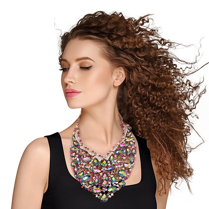 Crystal Bib Necklace Set