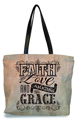 """FAITH, LOVE, GRACE""  RECYCLED LEATHER TOTE"