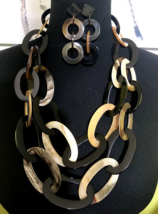100% Double-Strand Buffalo Horn Necklace with Horn Earrings