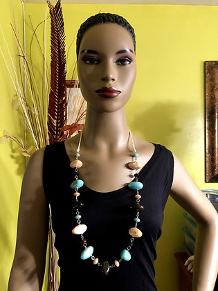 Chain-Linked Resin Necklace w/ Earrings