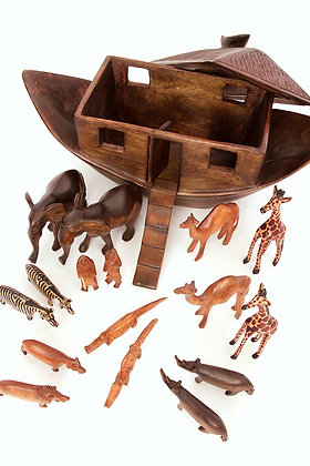 "Large Handcrafted 19"" in Length Hand Carved Wooden Noah's Ark with Animals"