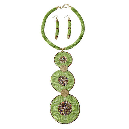 Green Circle  Bead Drop Necklace Set