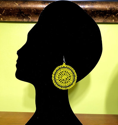 Disc Beaded Earrings-Yellow design
