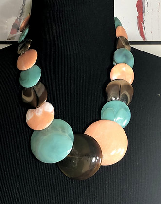 Round-Shaped Marble-Like Resin Necklace w/Earrings