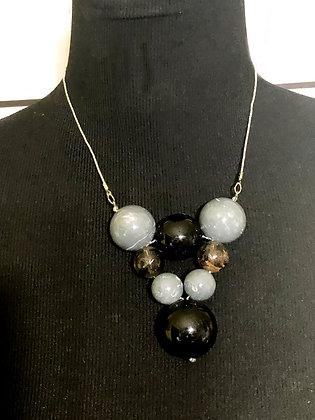Gray and Black Pyramid Resin Choker Necklace