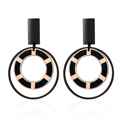 Newest Stainless Steel Round Shape Earrings Rose Gold