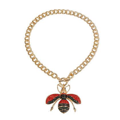 Large Rhinestone Bee Necklace