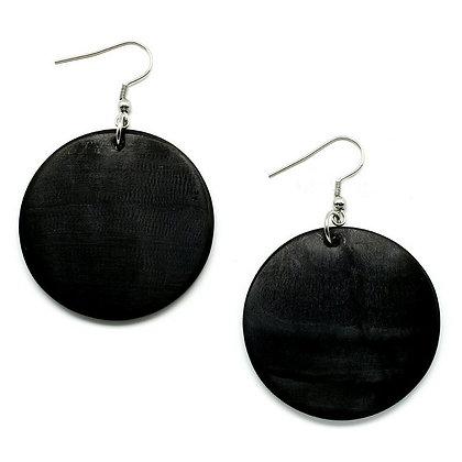 "Black Round Buffalo Horn 1.57"" Earrings"