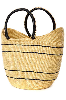 Natural Pinstripe Carrier with Leather Handles