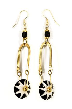 Kenyan Brass and Batik Bone Spur Earrings