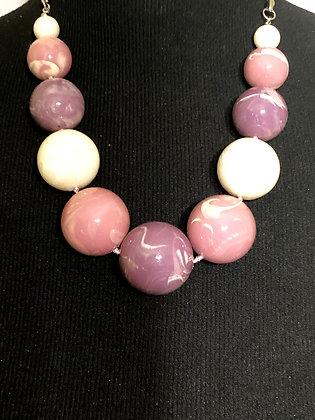 Purple Glaze Marble Faux Beads