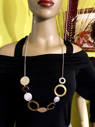 Multi-Circle Elegant Metal Necklace with a Choice of Earrings