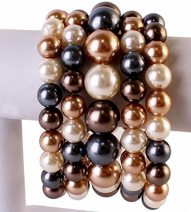 Gold and Cream Pearl Bracelet Set