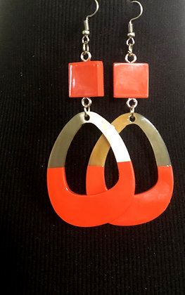 100% Buffalo Horn Orange Oval Lacquer Earrings