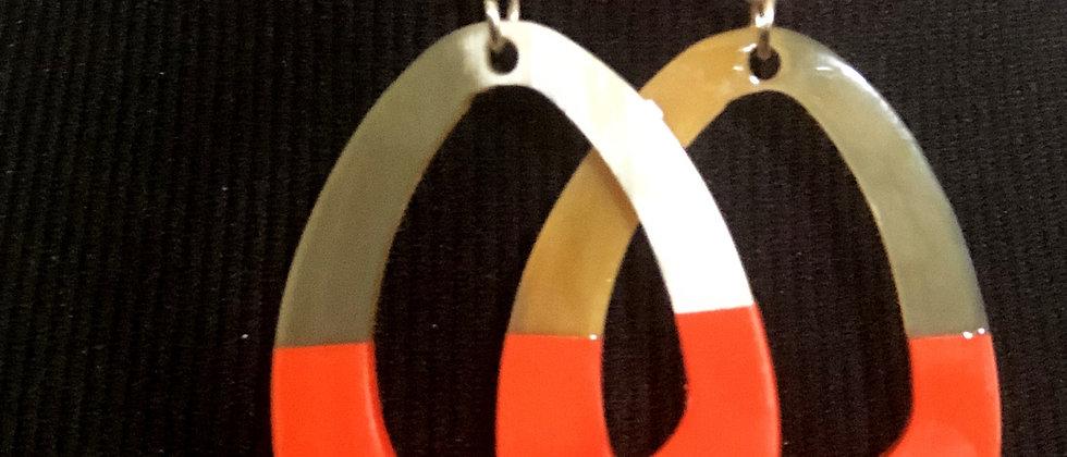 100% Buffalo Horn Orange Oval Lacquer Earrings