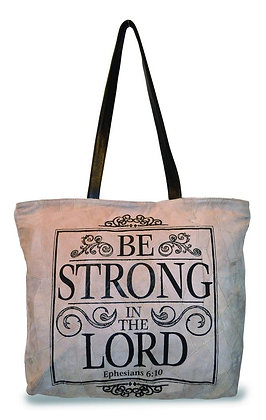"""""""BE STRONG IN THE LORD""""  RECYCLED LEATHER TOTE"""