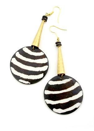 Bone Disc Earrings with Brass