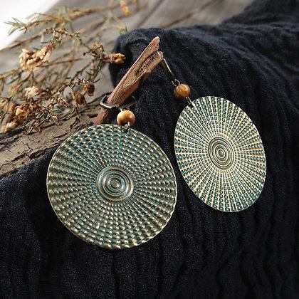 Bronze Solar Disc Earrings