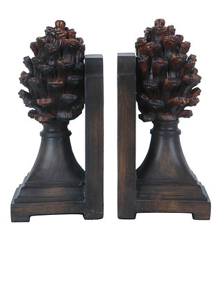 "8.75"" H Decorative and Stylish Resin Pine Cone  Bookends"