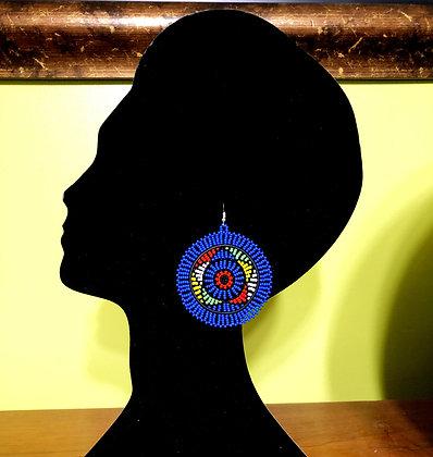 Disc Beaded Earrings-Blue Design