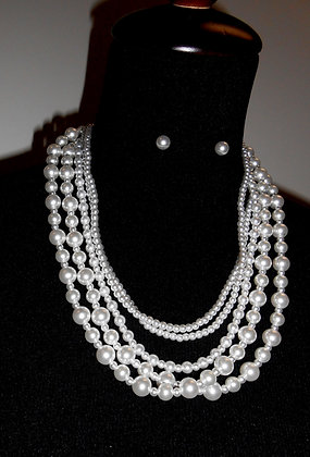 5 Strand Faux Pearl Necklace, Glass Beaded Necklace
