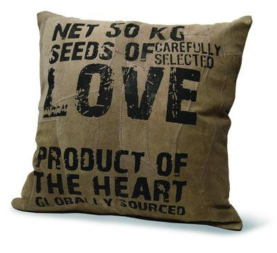 """LOVE SEEDS"" RECYCLED LEATHER PILLOW"