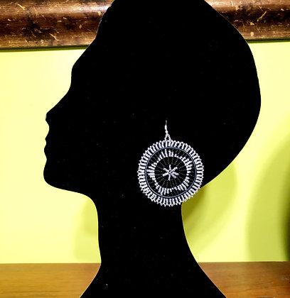 Disc Beaded Earrings-Silver Design