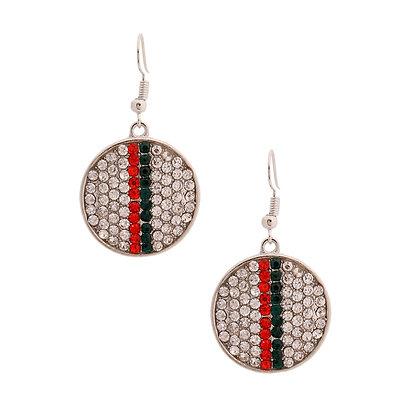Silver Stripe Designer-Styled Disc Earrings