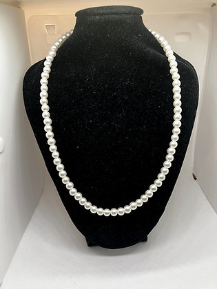 Single Strand White Faux Pearl Necklace, Glass Beaded Necklace