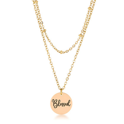 """Mini """"Blessed"""" Delicate 18k Gold Plated Necklace"""