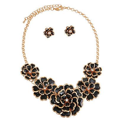 Gold Black Metal Flower Necklace Set