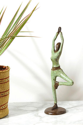 Burkina Bronze Yoga Tree Pose Sculpture
