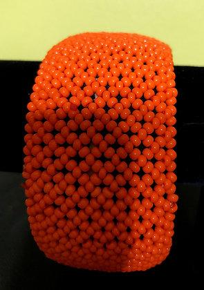 Tanzanian Handcrafted Orange Beaded Bangle