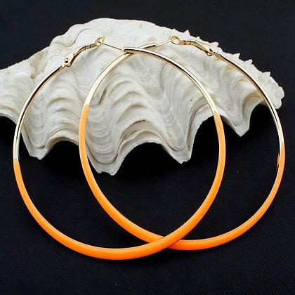 Neon Glaze Orange/Gold Hoop Earrings