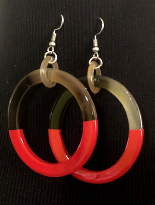 100% Buffalo Horn Red Lacquer Earrings