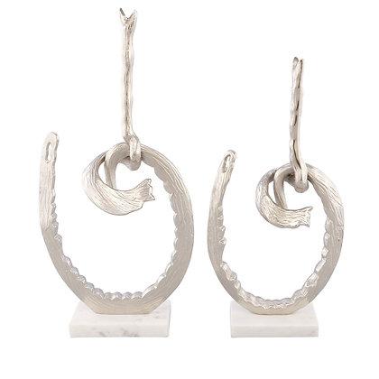 "Knot White Silver 2pc Statue Set ""Uniquely Designed"""