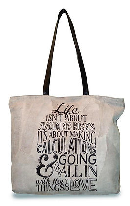 """LIFE ISN'T ABOUT""  RECYCLED LEATHER TOTE"